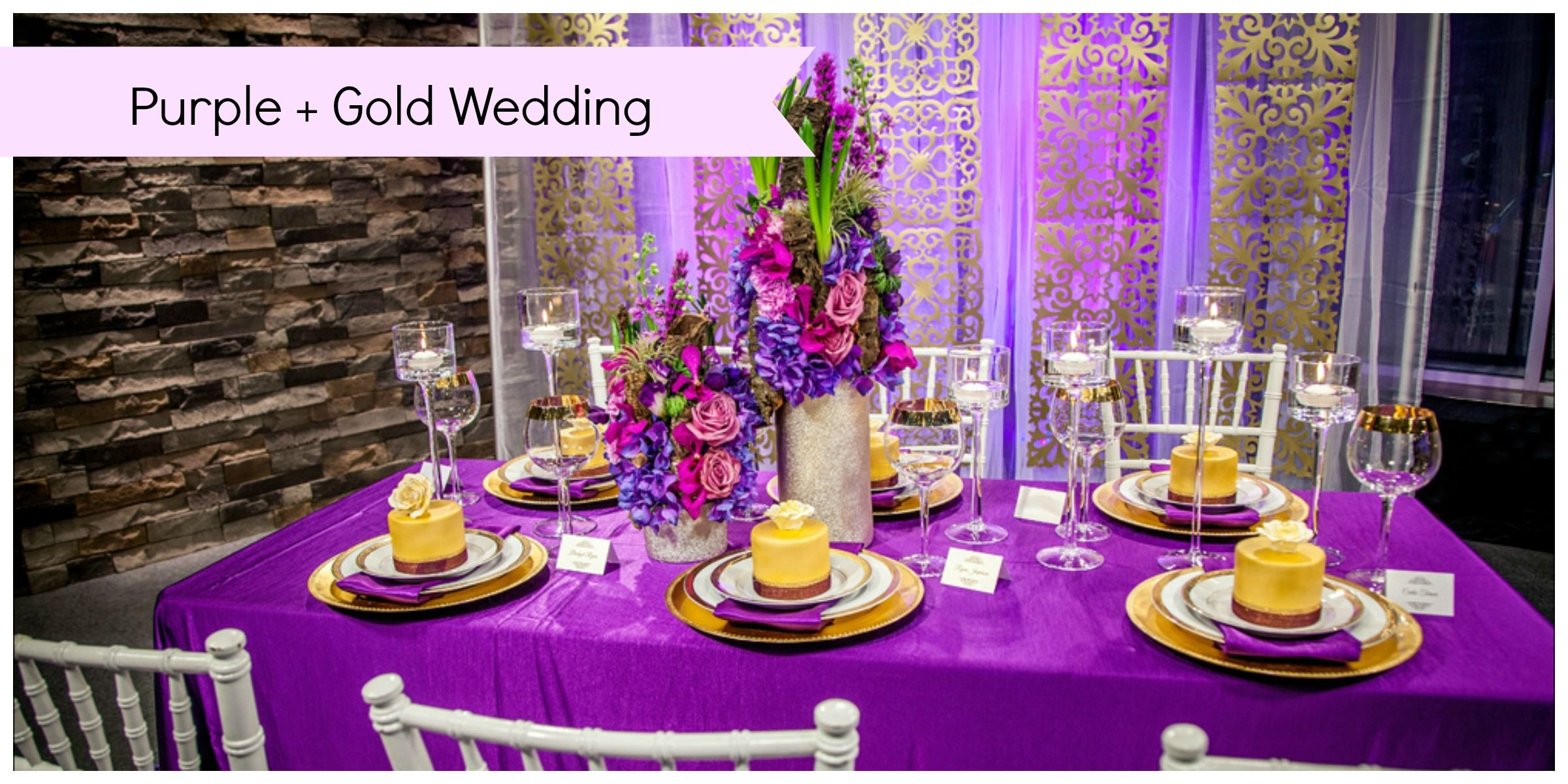 purple and gold wedding I adore this purple and gold wedding It is such a beautiful decor
