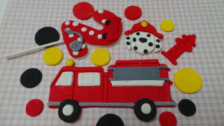 fire truck fondant cake topper set red fire engine colored circles rh pinterest com