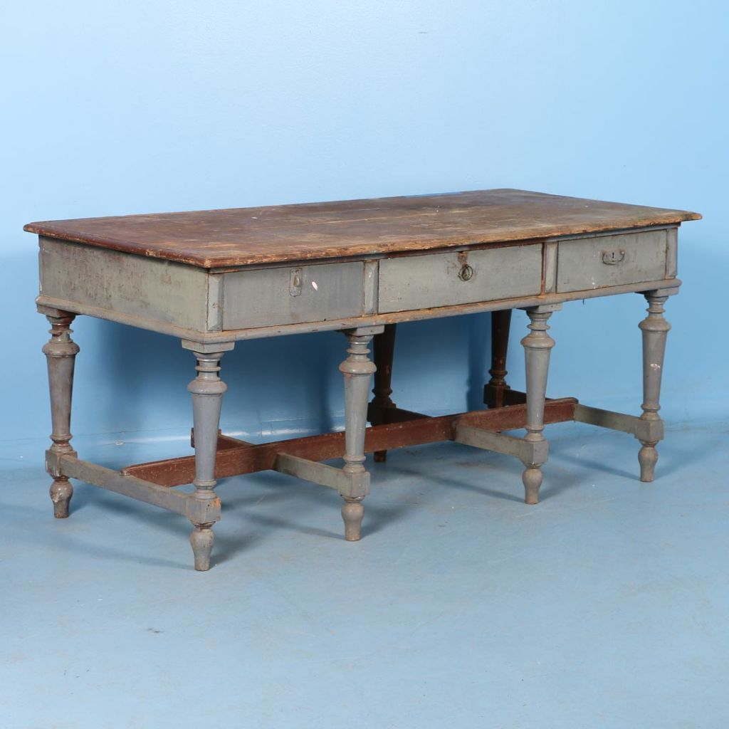 Antique Work Table or Kitchen Island from Sweden with Original Gray ...