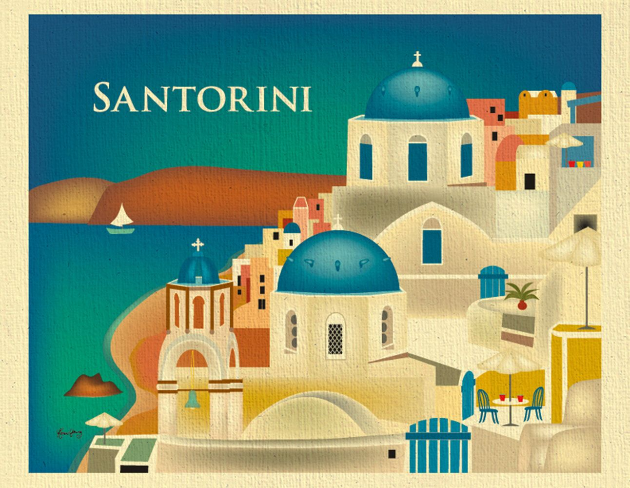 Santorini Skyline Art Print, Greece Retro Travel Print, Santorini ...