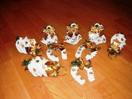 95e870638 papierove pletenie - Fotoalbum - Zlaté vianočné ozdoby z papiera ...