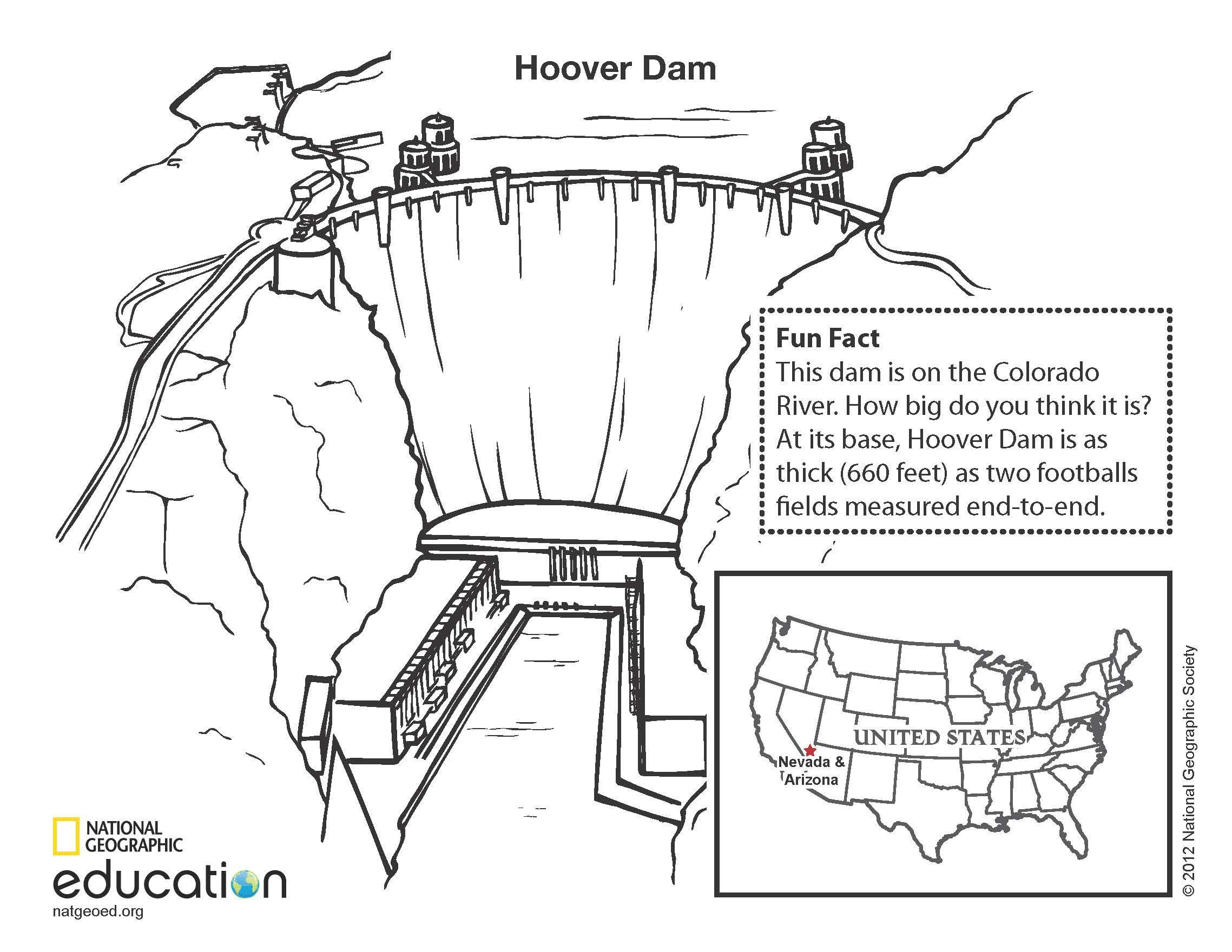 Download And Print This Coloring Page Of A Famous United States Landmark Hoover Dam Hoover Dam
