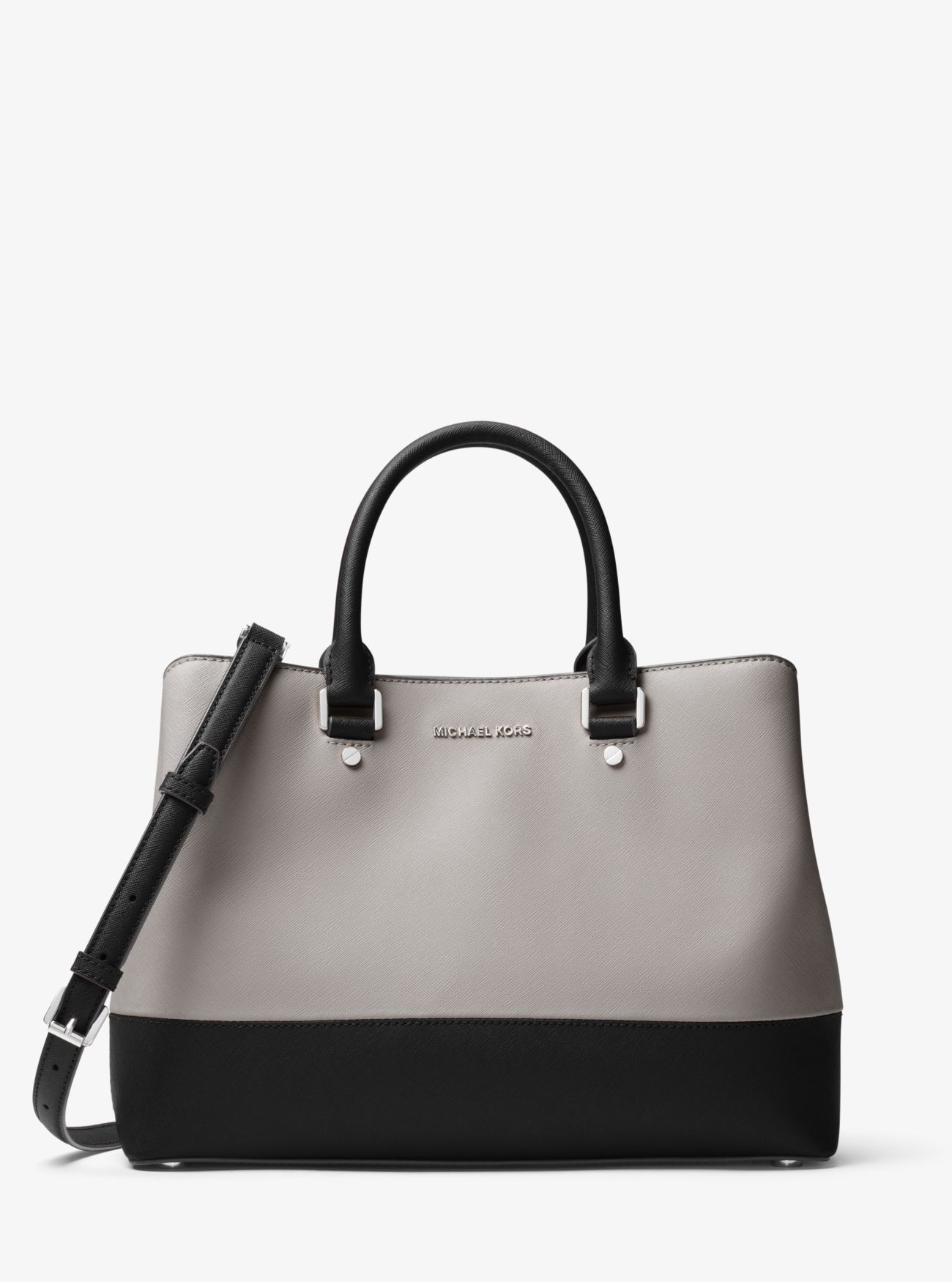 430bd31486b047 Savannah Color-Block Saffiano Leather Satchel. Savannah Color-Block  Saffiano Leather Satchel Michael Kors Savannah, Pearl Grey ...