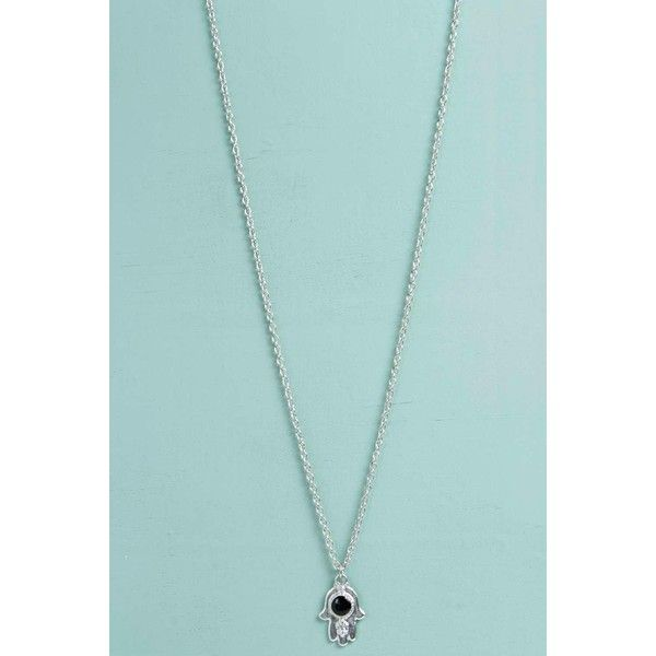 Boohoo Hayley Hamsa Hand Skinny Necklace ($7) ❤ liked on Polyvore featuring jewelry, necklaces, silver, layered chain necklace, chunky silver chain necklace, silver pendant necklace, silver chain necklace and silver necklace