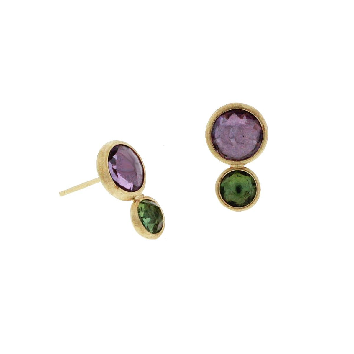 b1e96e818206 18K yellow gold amethyst and green tourmaline Jaipur stud earrings by  jewelry designer Marco Bicego