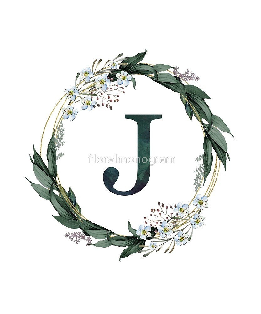 Monogram J Wild Flowers And Foliage Sticker By Floralmonogram In 2021 Alphabet Wallpaper Stylish Alphabets J Letter Images