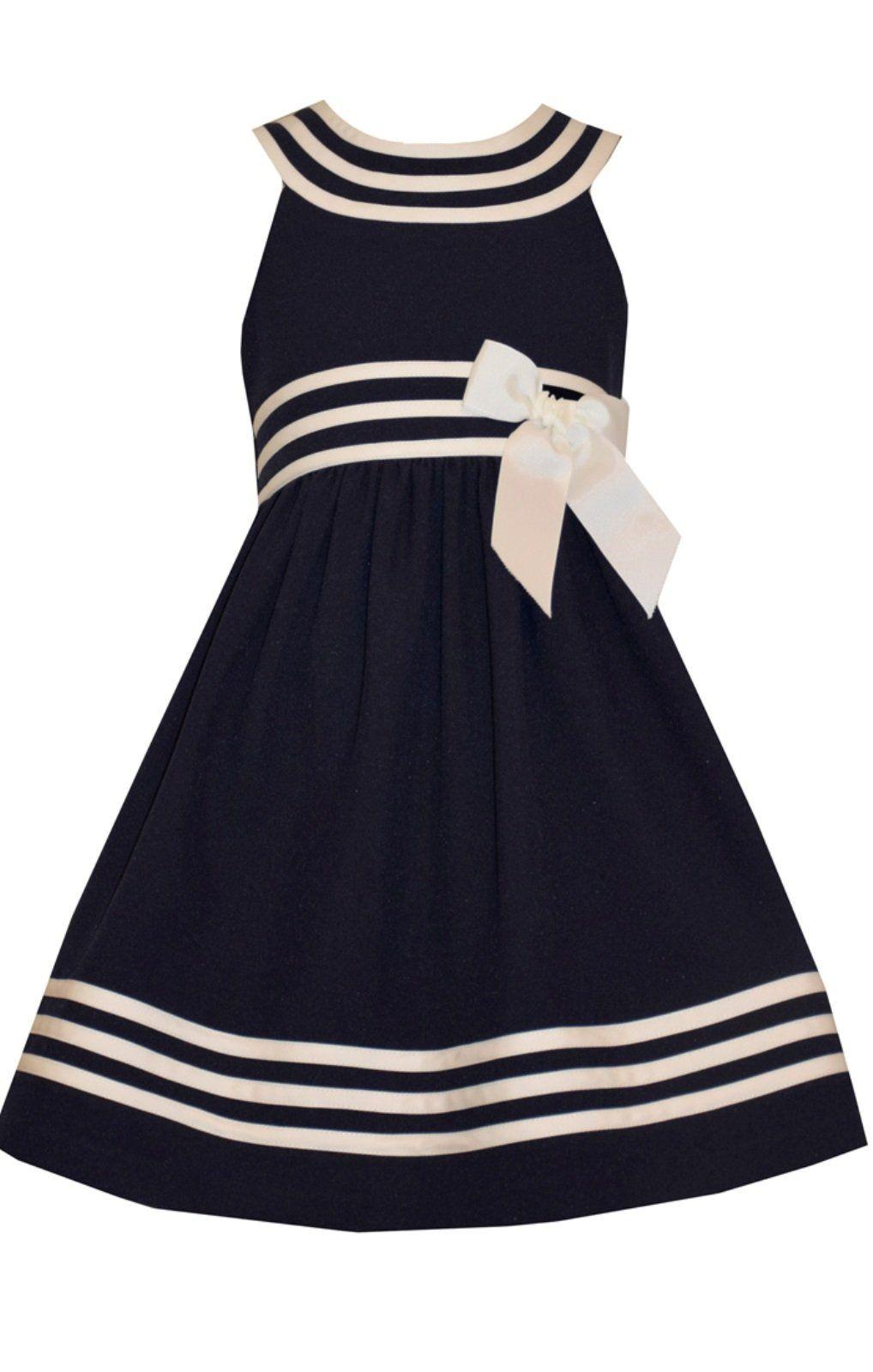 Flower girl dress bonnie jean girls easter white navy