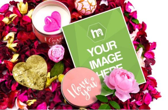 Valentines Day Greeting Card Mockup Print Love Hurt Rose Share Your