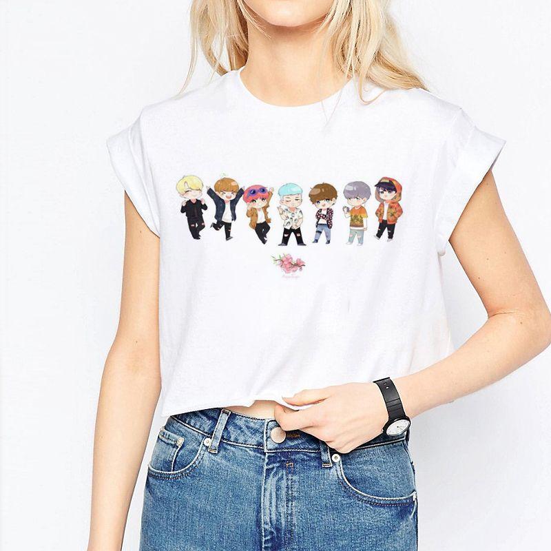 Encontrar Más Camisetas Información acerca de BTS bangtan Niños Harajuku  mujeres cosecha casual manga corta de impresión de dibujos animados  streetwear Tops ... 33c41d1a5c1