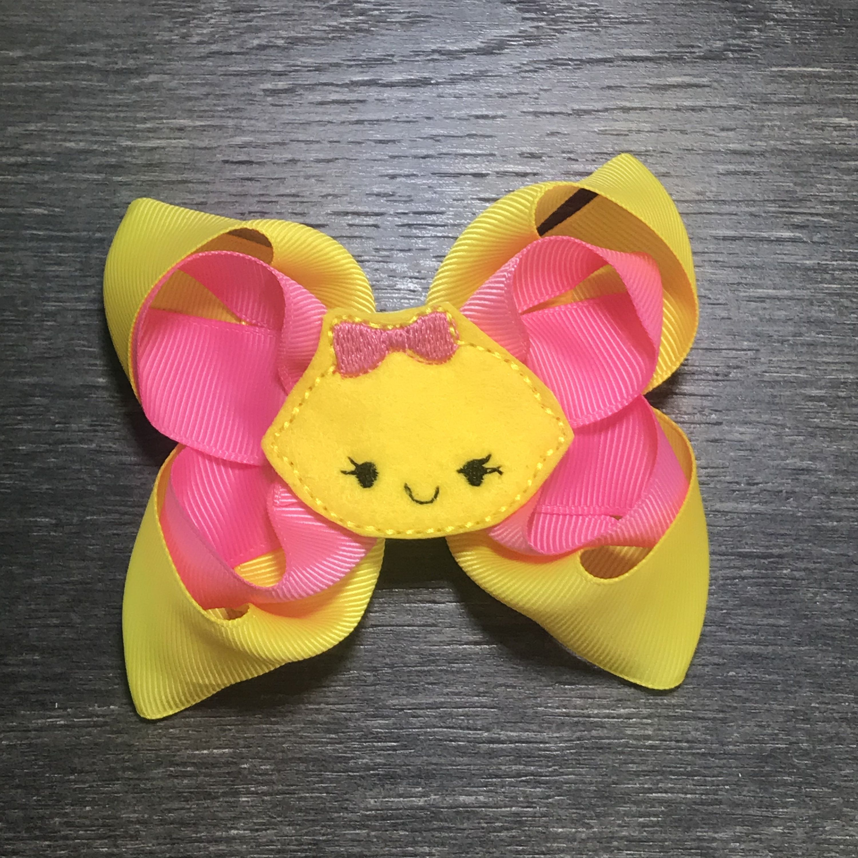 Hot Pink Lemonade Hairbow  Pink Lemonade Hair Bow  Pink Lemonade Headband  Pink Lemon Hairbow    Lemonade Birthday Party   Summer Lemon