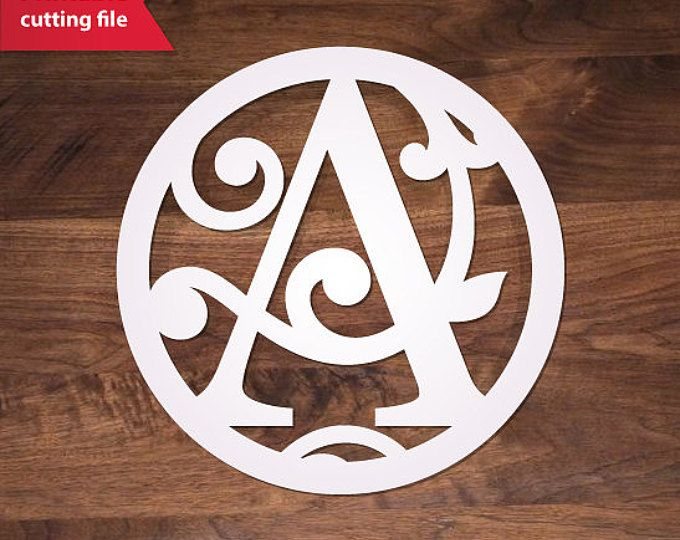 Round Monogram letter «A» SVG template One monogram initial (8 file - new circular letter format pdf