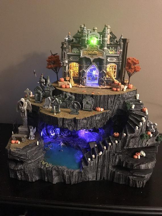 Halloween Village Display Cave #halloweenvillagedisplay