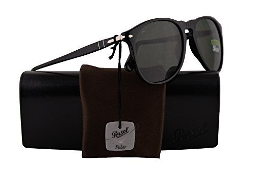 8e8ce5daa62 PO9649S Sunglasses Black w Polarized Green Lens 55mm 9558 PO9649-S 9649S PO  9649-S