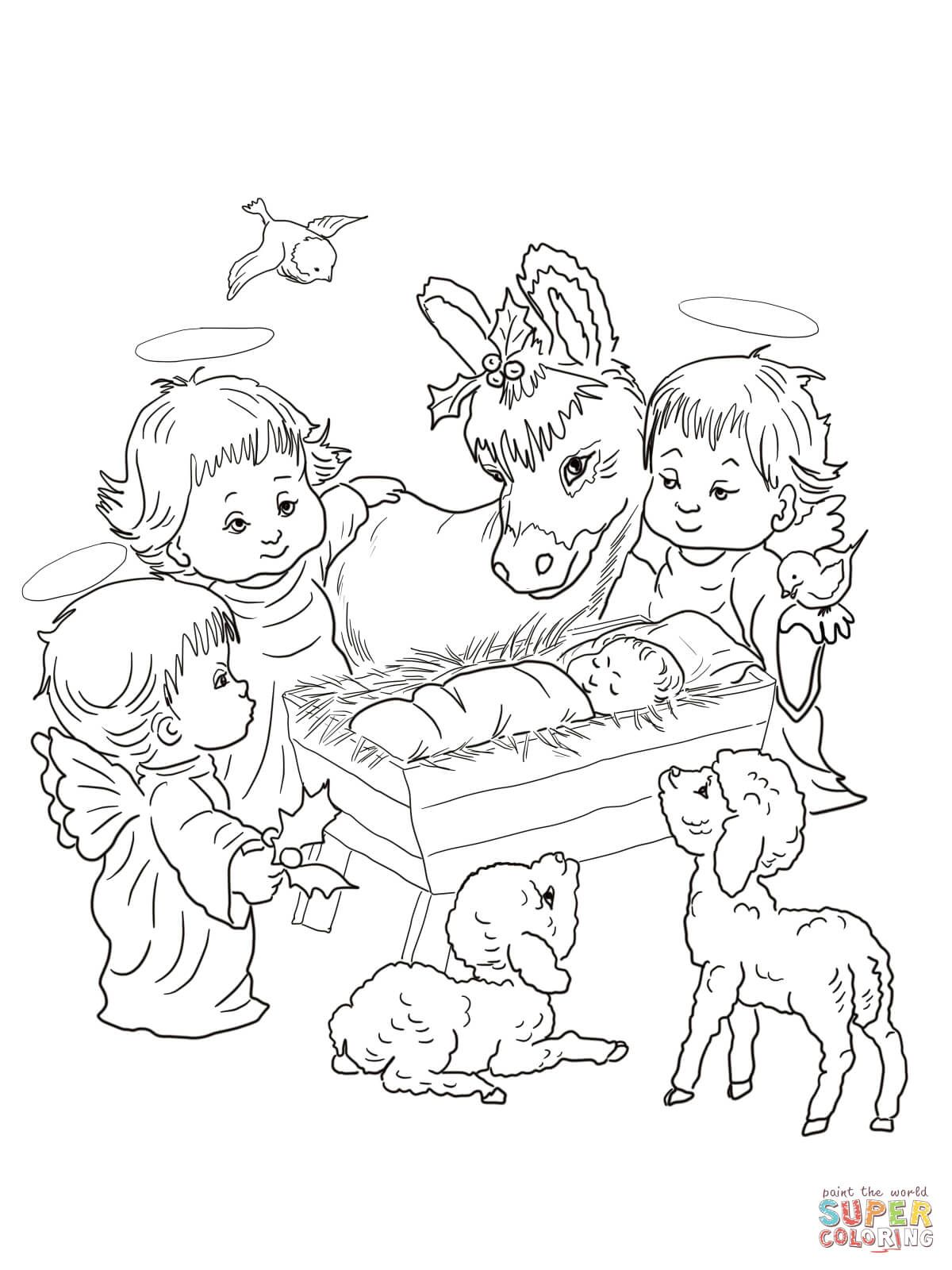 Nativity Scene With Cute Angels And Animals Coloring Page Free Printable Colorin Nativity Coloring Pages Angel Coloring Pages Precious Moments Coloring Pages
