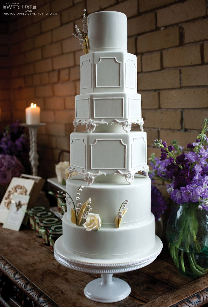 beautiful six-tier cake from Cakes by Konstadin  as seen in Summer/Fall 2011 edition of WedLuxe magazine