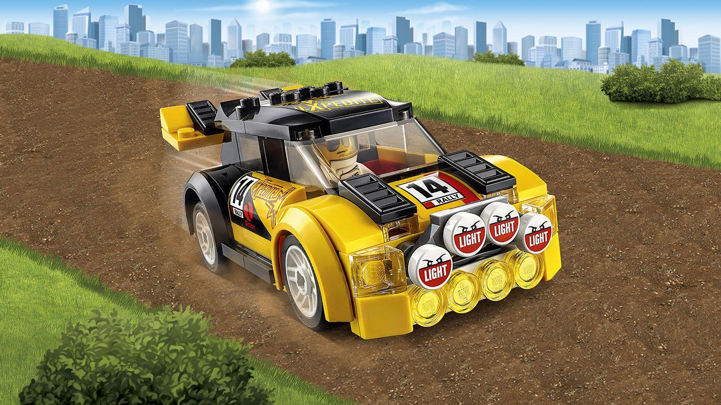 LEGO City yellow rally car on race track Rally Car 60113