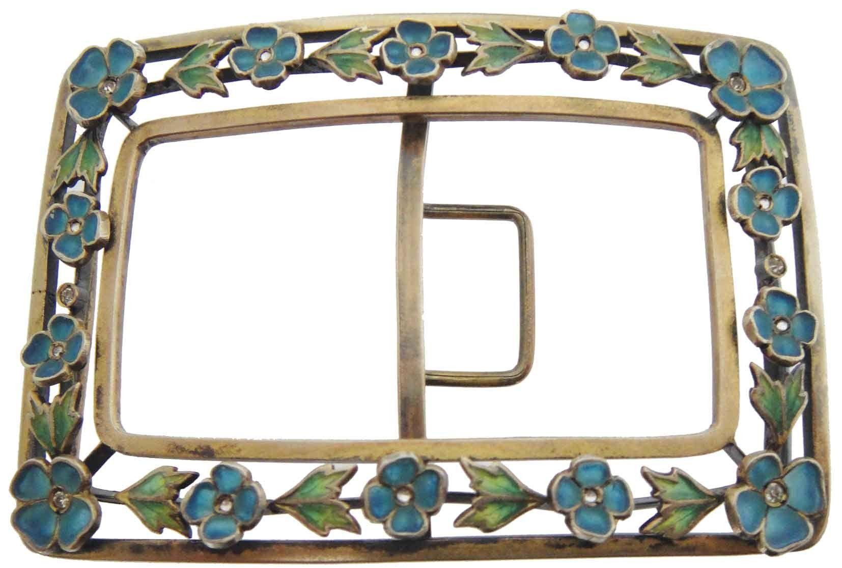 Art Nouveau Plique a Jour Enamel Belt Buckle