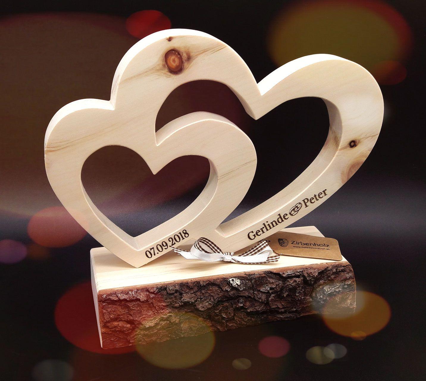 Großes, ( 28x24x10cm ) Zirben Doppel Herz, nicht nur zur Hochzeit
