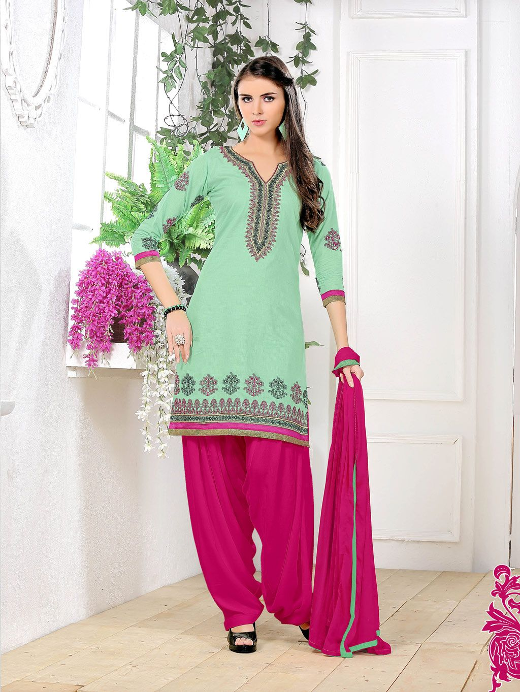 4745d30d34 Buy Light Green Cotton Punjabi Suit 66338 online at lowest price from vast  collection at m.indianclothstore.c.