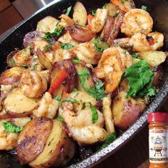 """""""Soulfitgrill Creole Kick Shrimp and Red Potatoes!! Video on previous post  #soulfitgrill  1. Place 1 tbs butter in a skillet with 1/4 of a red and green…"""""""