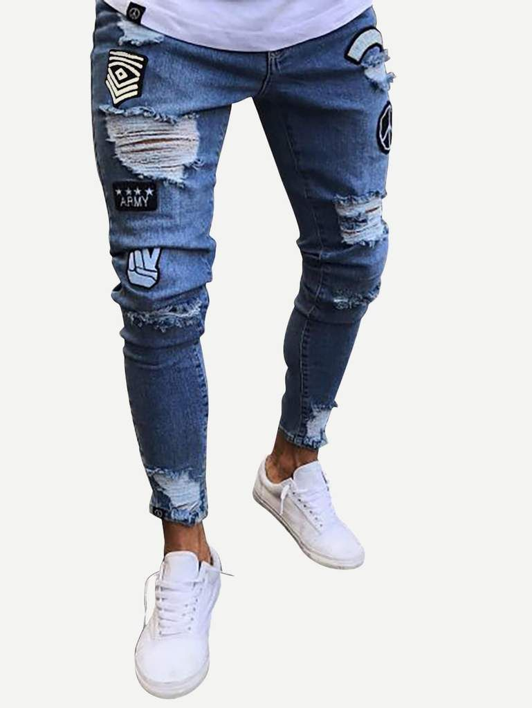 35f36e07 Men Ripped Tapered Jeans in 2019 | Men's Pants & Shorts | Skinny ...