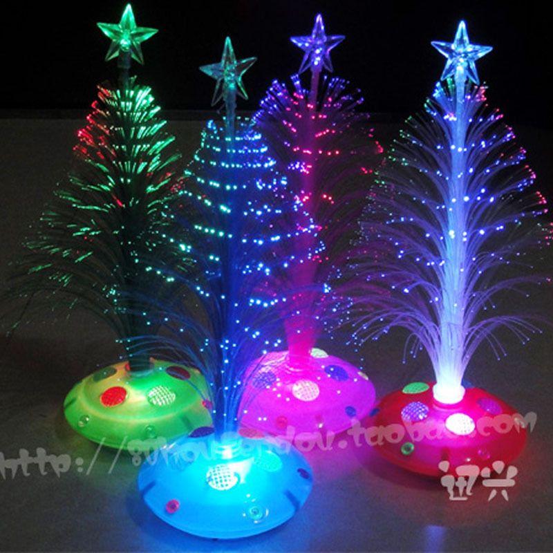 25cmChristmas Tree Fiber Optic Light Colorful Light Emitting The Flowers  Three Dimensional Christmas Tree Home