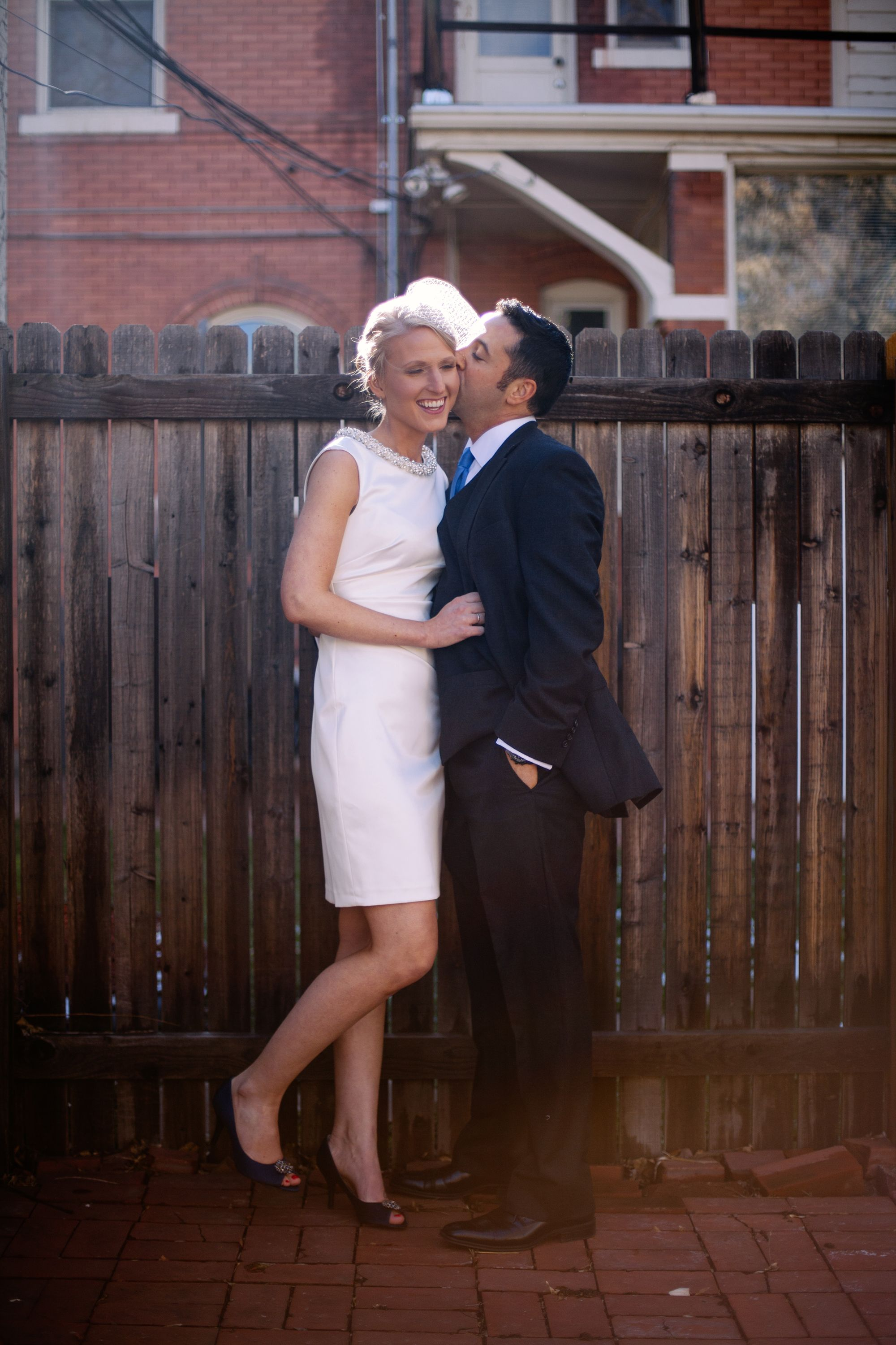 elopement love short 1950s style jackie o wedding dress and a