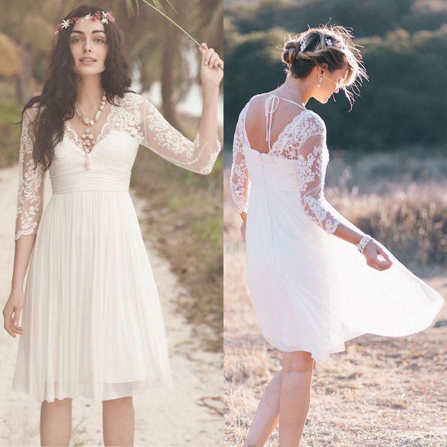 2017 Lace Bohemian Wedding Under 100 Long Sleeves Short Bridal Gowns Vestidos De Novia Cortos