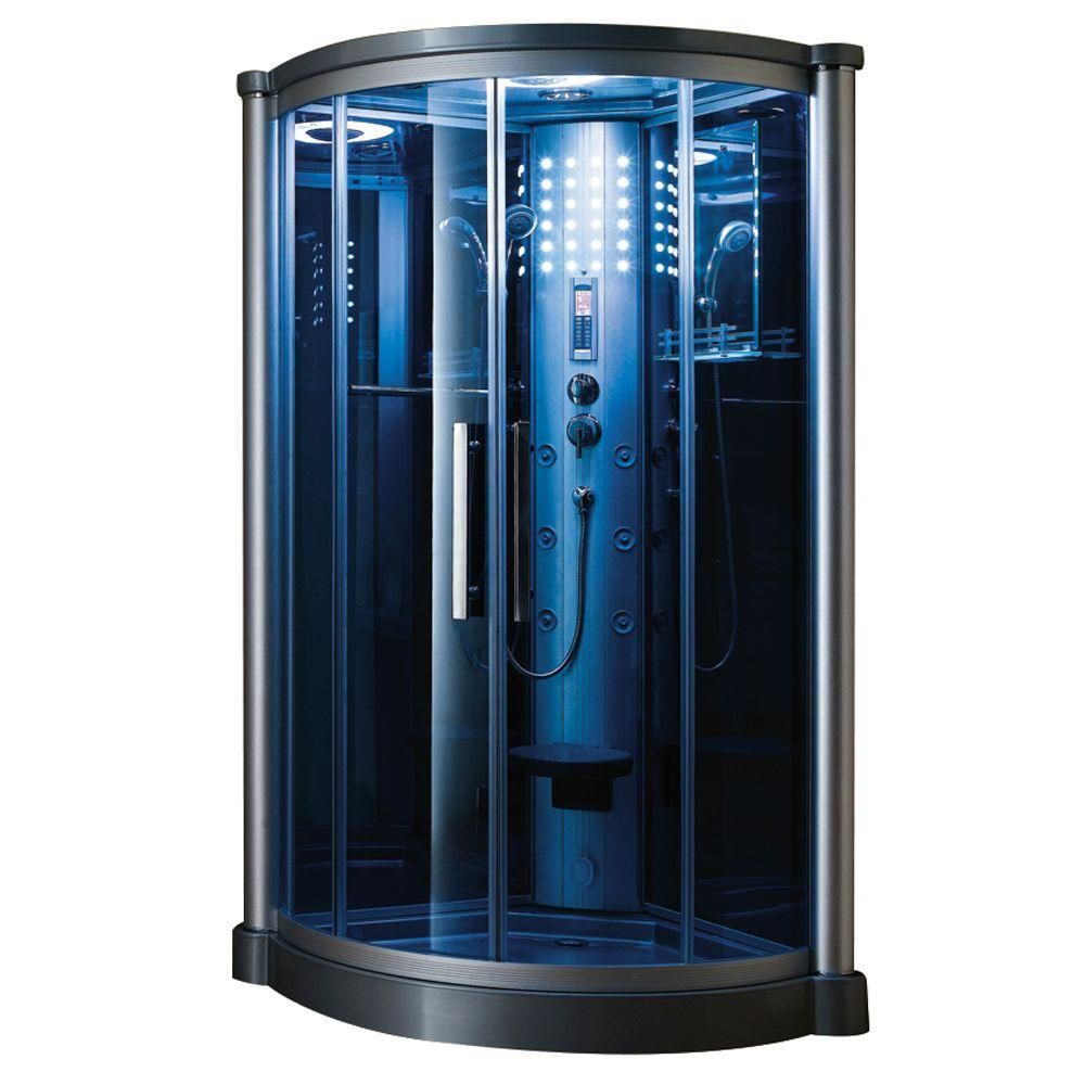 Ariel 40 in. x 40 in. x 85 in. Steam Shower Enclosure Kit in Blue ...