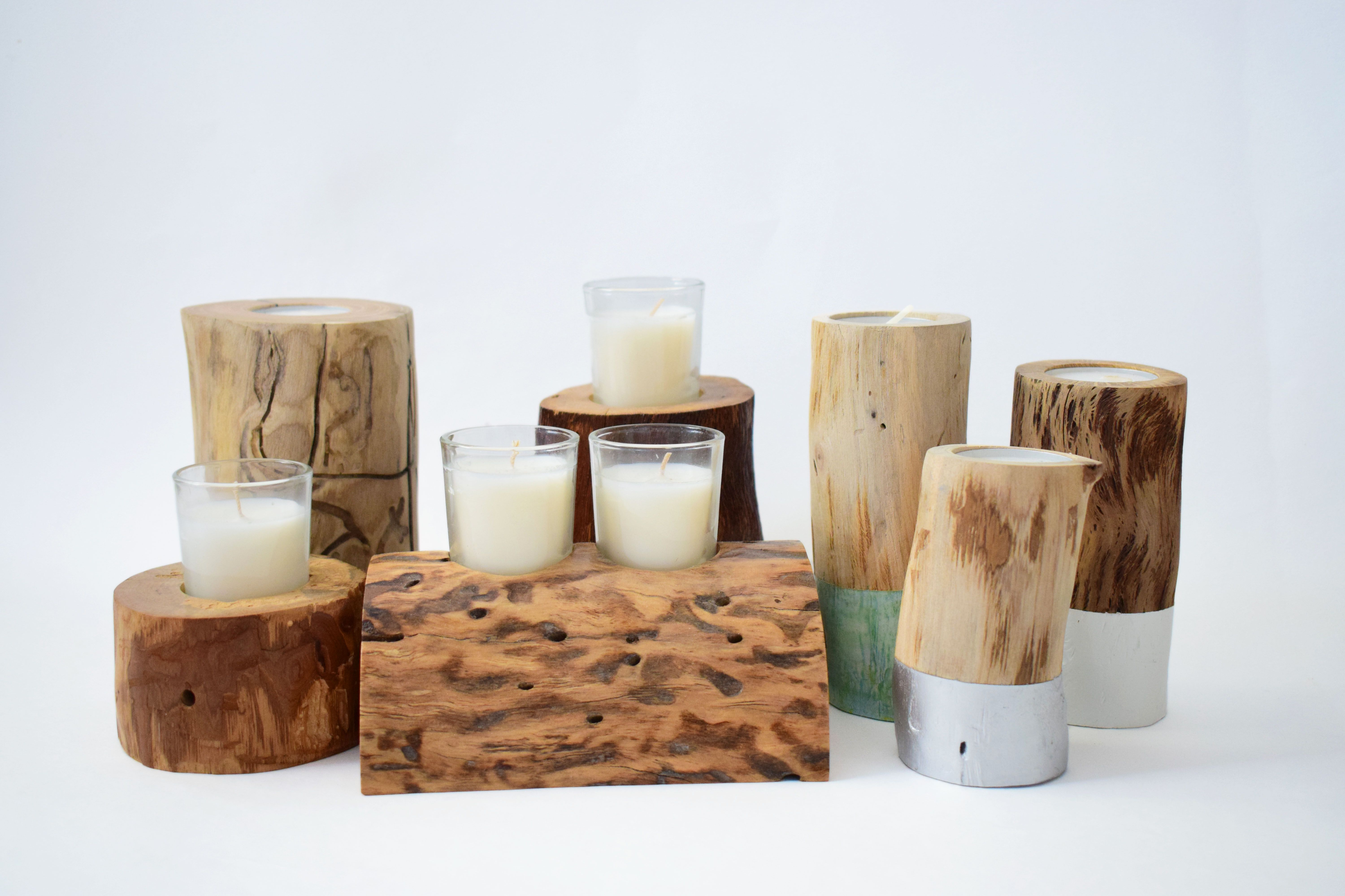 Handmade Wooden Candle Holders Using Recycled Wood   Dip Dyed   Rustic And Sustainable  Home Decor