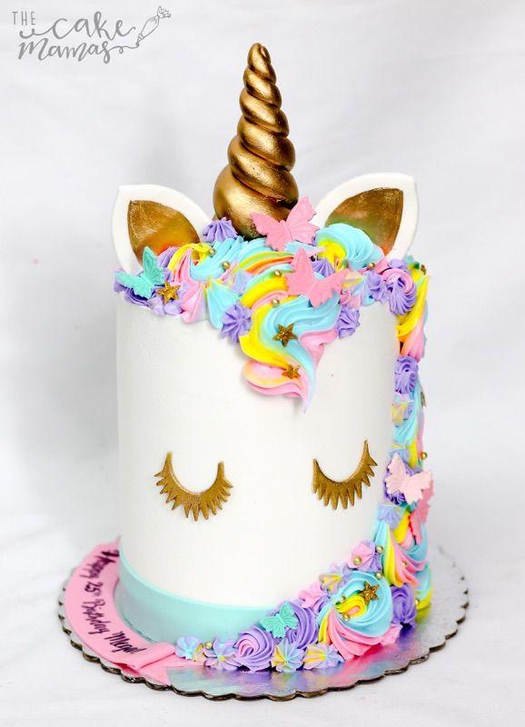 Unicorn Themed Birthday Cake Pastel Butterflies Unicorn
