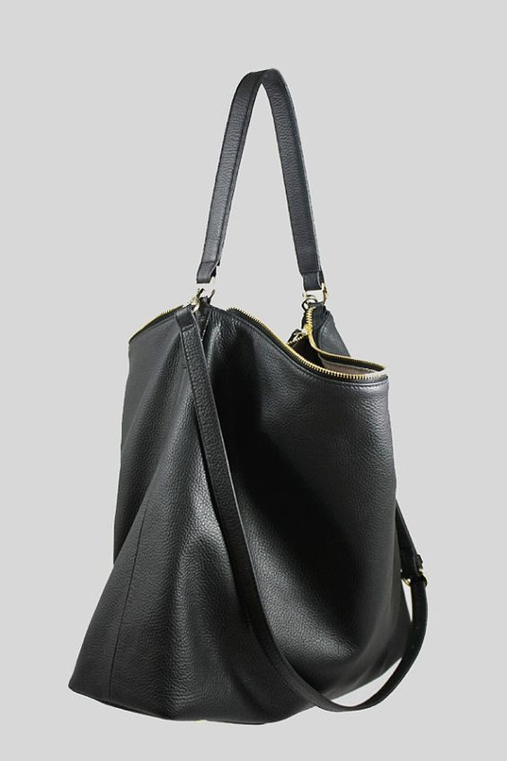 Nela Black Leather Hobo Bag Large Shoulder Bag Handbags