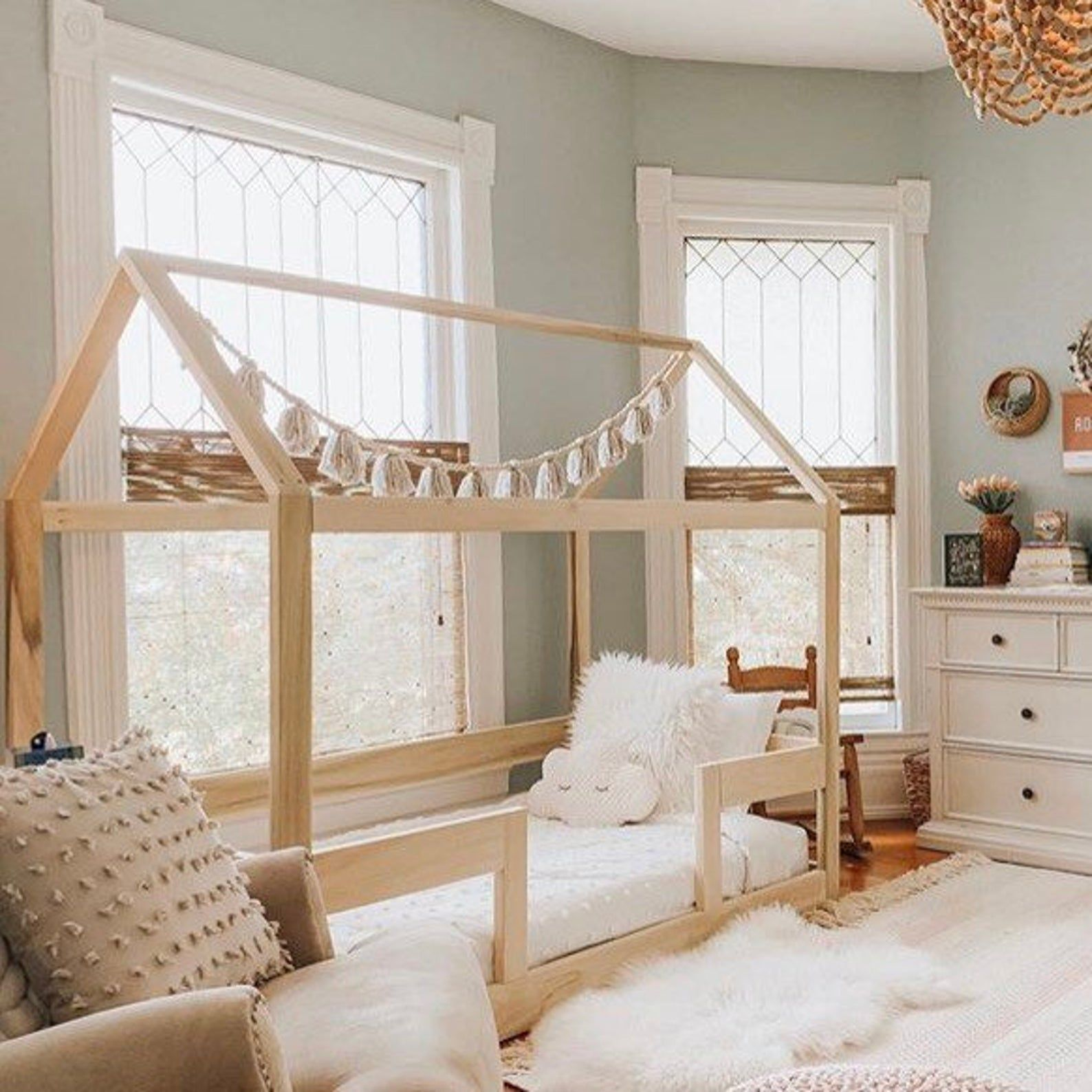 Twin House Bed Frame Railings Mattress Slats Made In Us
