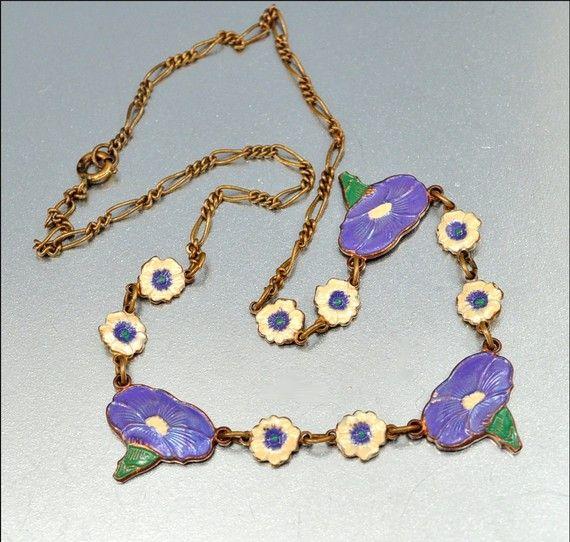 Vintage Enamel Art Deco Necklace Morning Glory Flower Purple White Vintage 1930s Art Deco Jewelry