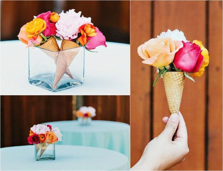 Schon Rosen In Eiswaffeln Als Tischdeko Selber Machen