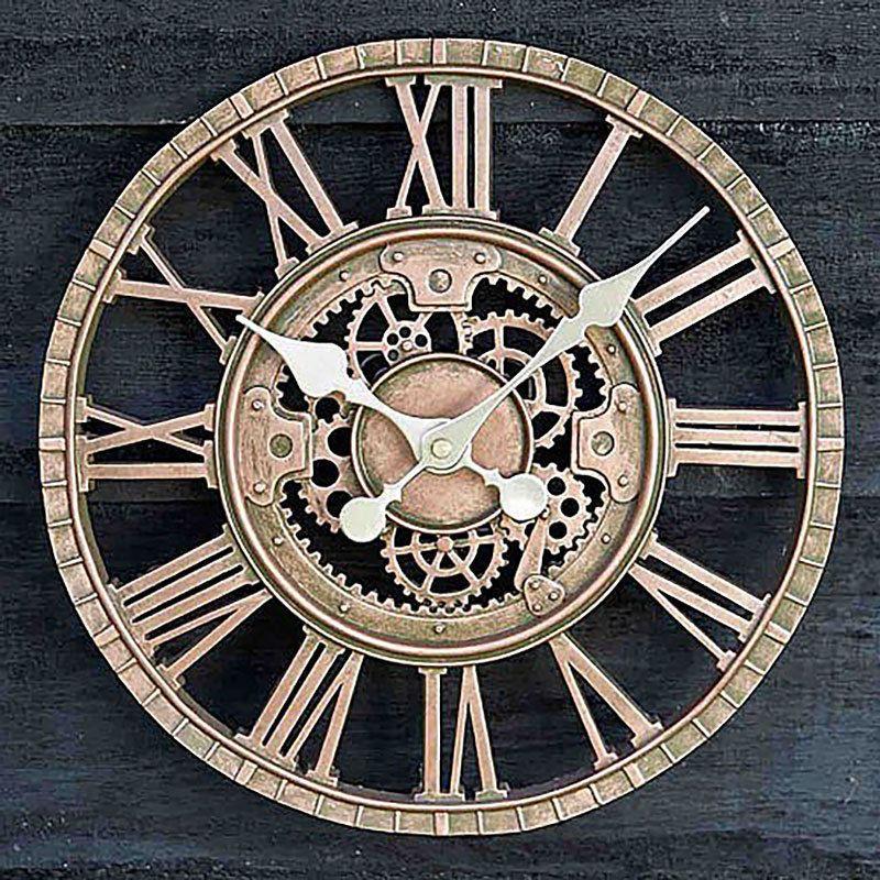Large Outdoor Garden Wall Clock Roman Numerals Open Face Metal Round Bronze 5060172836307 Ebay Mechanical Wall Clock Outdoor Clock Wall Clock