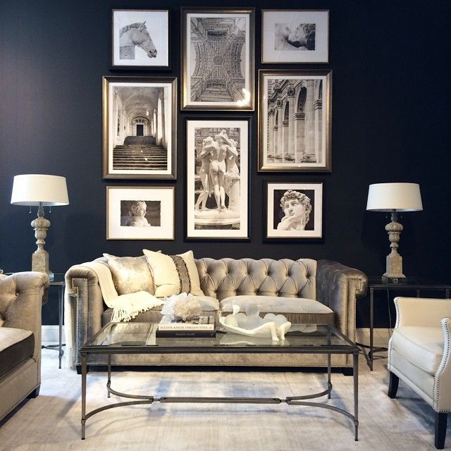 Pin By Stephanie Shaw Design On Aire De Vie In 2021 Living Room Grey Navy And Grey Living Room Chesterfield Sofa Living Room