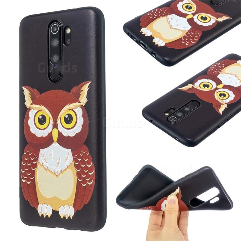Big Owl 3d Embossed Relief Black Soft Back Cover For Mi Xiaomi Redmi Note 8 Pro Xiaomi Redmi Note 8 Pro Cases Guuds Xiaomi Owl Cover