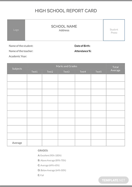 high school report card template 6  professional templates