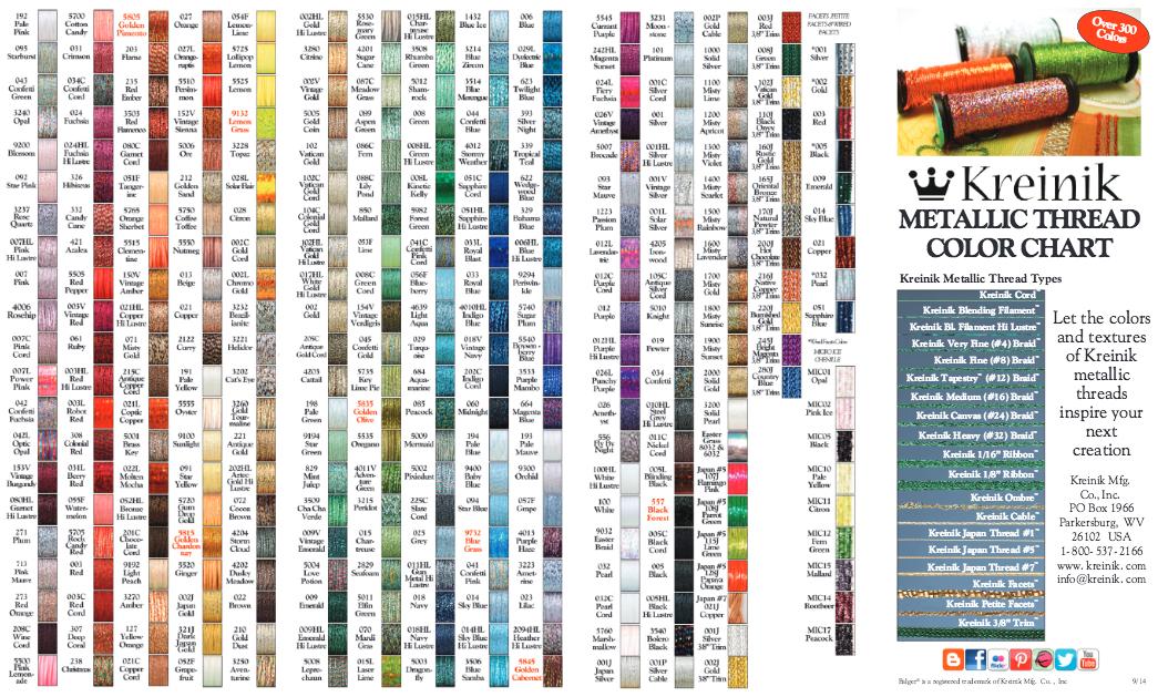 Kreinik Metallic Thread Color Chart Cross Stitch Pinterest