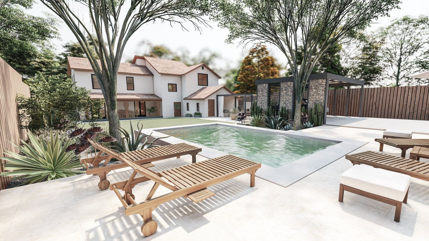 Modern Backyard With A Small Pool Online Landscape Design Backyard Design Landscape Design Small