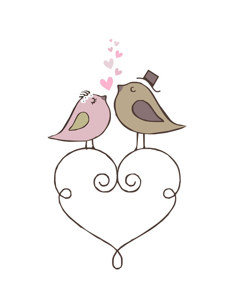 Resultado de imagem para desenhos de casal passarinhos ...