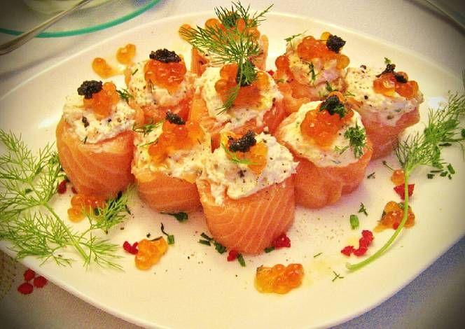 tapas hechas con salmon ahumado