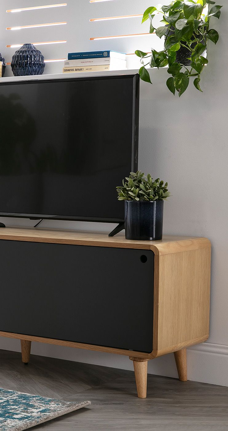 Meuble Tv Scandinave Chene Clair Et Gris Copenhague Miliboo En 2020 Mobilier De Salon Meuble Design Meuble Tv Scandinave