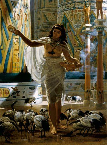 Sir Edward John Poynter - Feeding the Sacred Ibis in the Halls of Karnac.