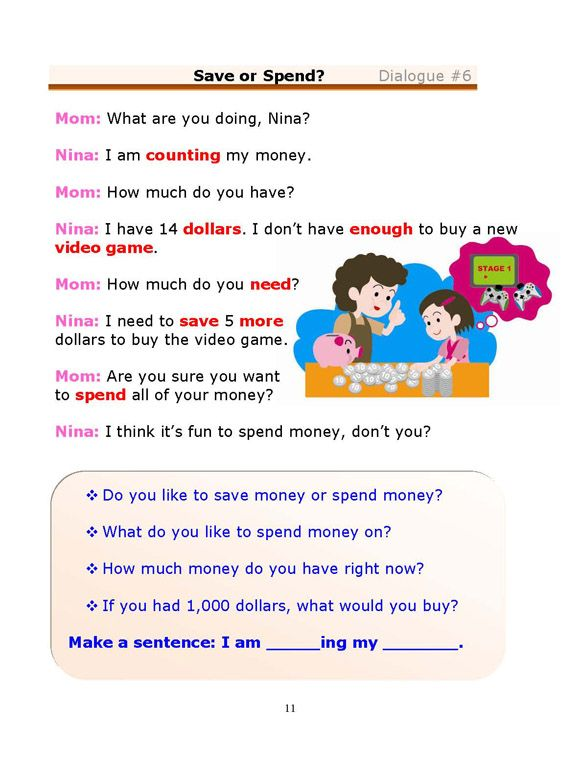Esl Dialogues Save Or Spend Beginner Learn English Words English For Beginners English Conversation For Kids