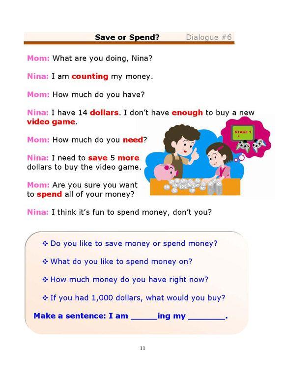 Esl Dialogues Save Or Spend Beginner Esl English