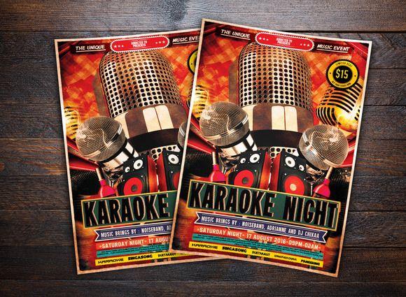 Karaoke Night Music Flyer By DesignAddict On Creative Market