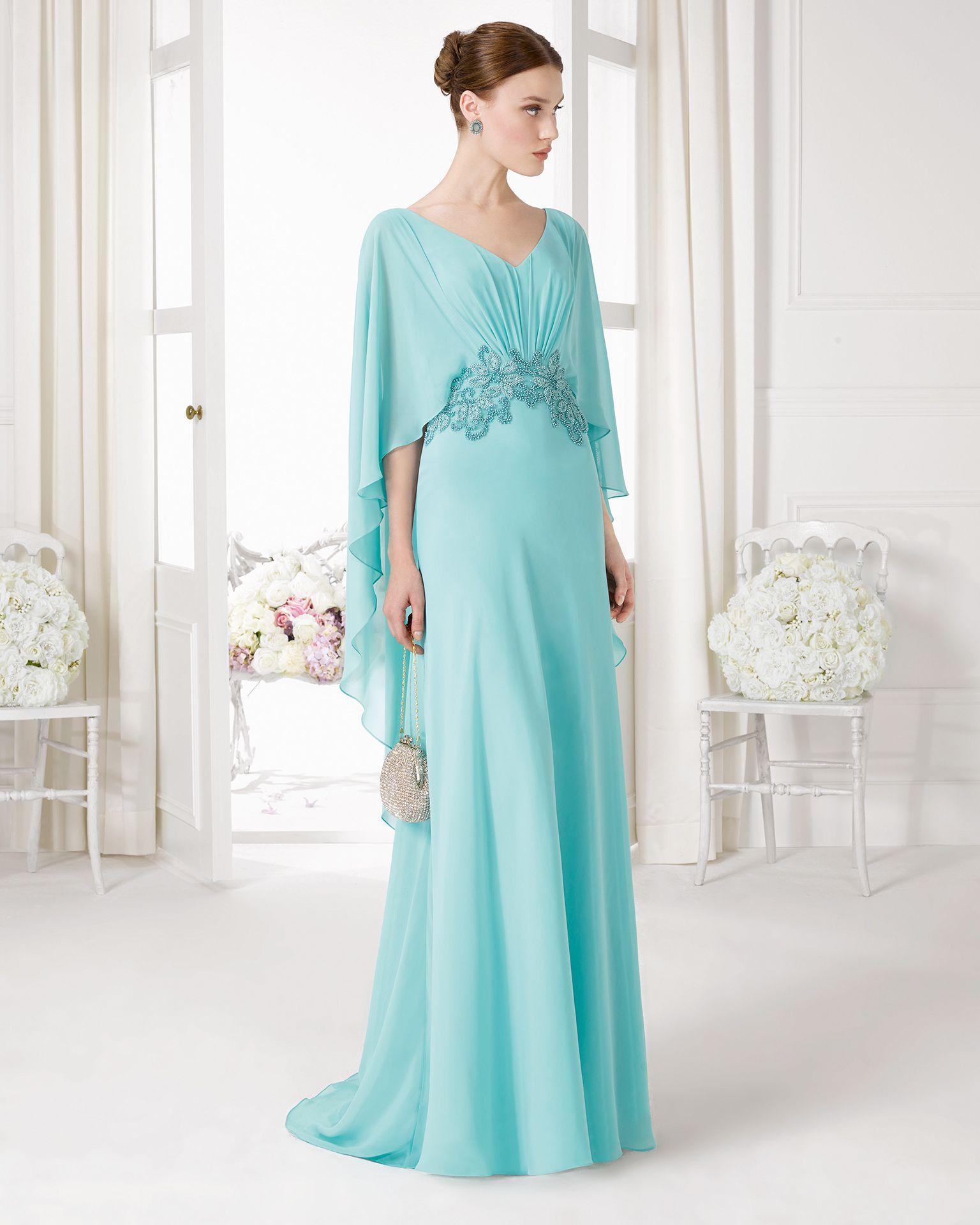 Vestido turquesa claro con mangas. Código: 9u172 | Vestidos de ...