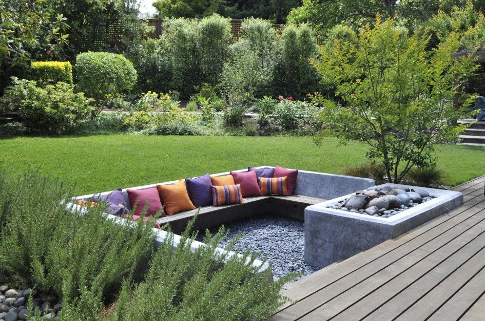 Exterior Incridible U Shaped Fire Pit Seating With Chic Colorful Cushions As Inspiring Small Patio Ideas With Green L Sunken Patio Outdoor Design Patio Design